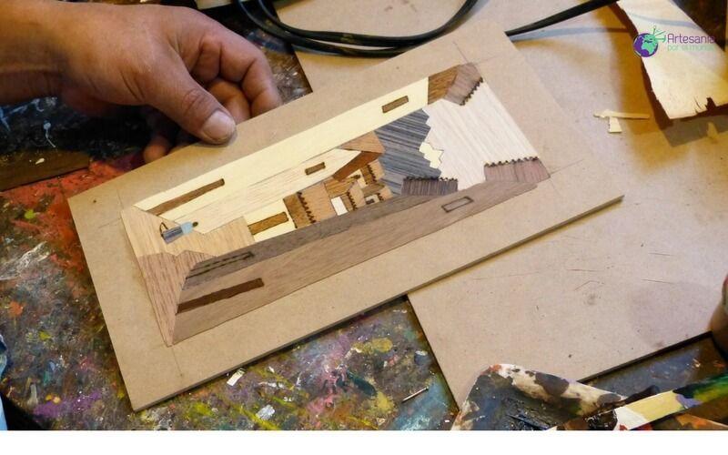 Marqueter a creaci n de un paisaje con chapas de madera - Madera para marqueteria ...