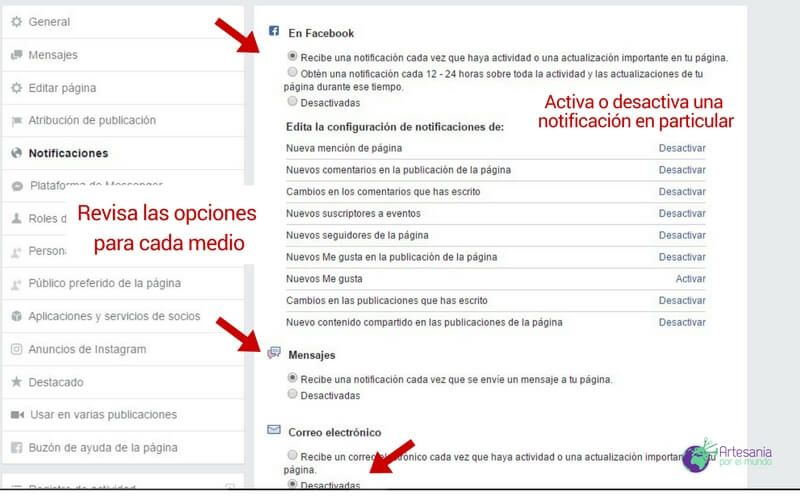 ajuste notificaciones facebook