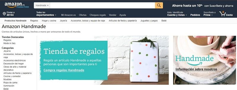 vender amazon handmade